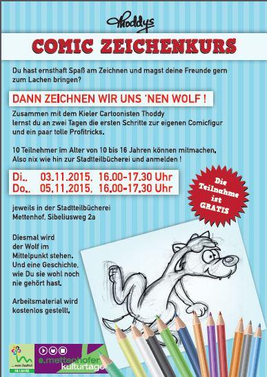 9. Mettenhofer Kulturtage 2015 - Comic Zeichenkurs in der Stadtteilbücherei am  5.11